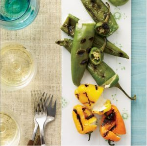 Cheese-Stuffed Grilled Peppers Paired with Tarantas Sparkling White Wine. Recipe and photo from Food & Wine.