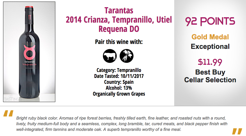Natural Wine Review Winner Tarantas Tempranillo