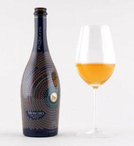 Italian Organic Wine Pizzolato Moscato Bottle and Glass