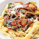 organic wine & food pairings pasta with tomato and mushrooms